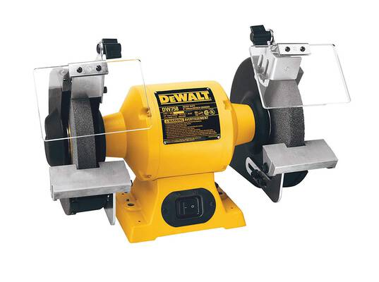 #5. DEWALT DW758 8inch Overload Protection 3/4 HP Induction Motor 3600 RPM Durable Bench Grinder