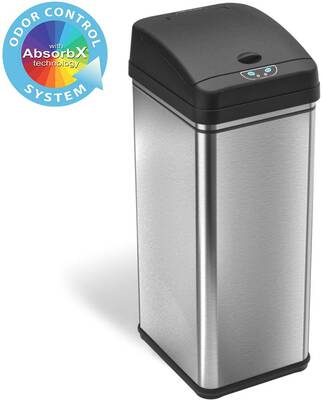 #7. iTouchless 13 Gallon Stainless Steel Wide Opening Auto-Trash Can w/Odor-Absorbing Filter