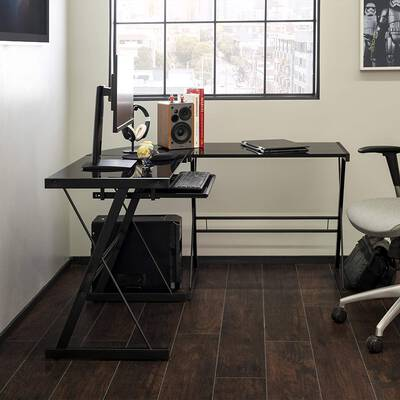 4. Walker Edison Command Center Modern Corner L-shaped Glass Black Single Workstation Desk