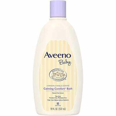 #8. Aveeno Baby 18 Fl. Oz. Paraben & Phthalate-Free Hypoallergenic Baby Calming Wash & Shampoo
