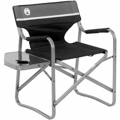 #2. Coleman Aluminum Outdoor Lightweight Portable Camping Chair w/Side Table Flip-up Table
