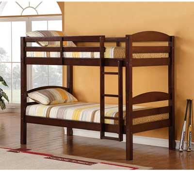 #4. WE Furniture Classic Wood Twin 250 lbs. Each Bunk Kids Bed Bedroom 65'' HX 79'' LX42'' W (Espresso)