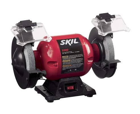 #10. SKIL 6 inch 3380-01 Medium & Coarse Wheels 2.1-Amp Motor Built-in LED Rubber Feet Bench Grinder