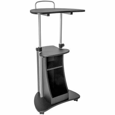 #5. Techni Mobili Rolling Graphite Adjustable Sit-to-Stand Laptop Stand with Storage