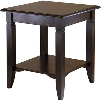 6. Winsome Cappuccino Easy-Assembly Curved Legs Storage Shelf Nolan Occasional Wood End Table