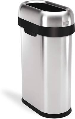 #1. Simplehuman 50L/13.2 Gallon Slim Open Top Commercial Grade Heavy Gauge Trash Can