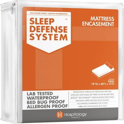 #3. Sleep Defense System Hypoallergenic Waterproof Zippered Stretchable King Mattress Encasement