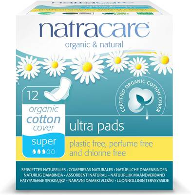 #9. NATRACARE 12 Count Certified Organic Cotton Cover Perfume- & Chlorine-Free Natural Ultra-Pads