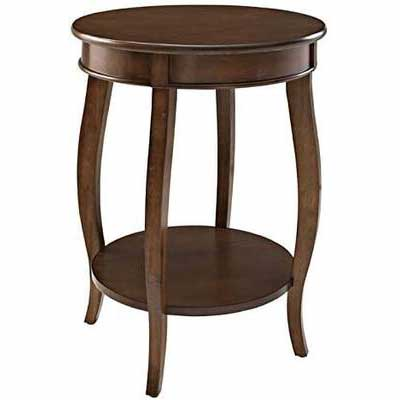 9. POWELL Contemporary Round Lower Shelf Convenient Accent Hazelnut Round Wood End Table