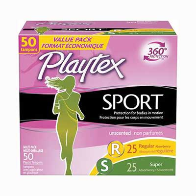 #3. Playtex 50 Count Unscented Super Multi-Pack Sport Tampons w/ Flex-Fit Technology regular Pads