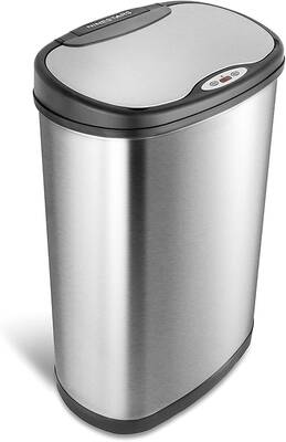 #5. Ninestars DZT-50Stainless Steel 13 Gallon/50L Automatic Touchless Oval Trash Can w/ Black Top