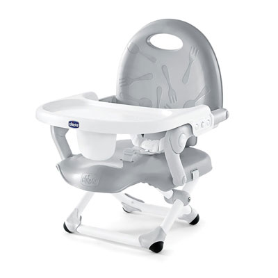 #10. Chicco Pocket Snack Booster Seat Fast Setup Adjustable Tray Compact Fold Chair (Grey)