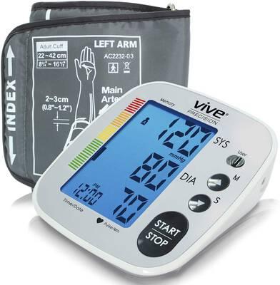 #9. Vive Precision Accurate Pulse Readings Upper Arm Cuff Blood Pressure Monitor (Silver)