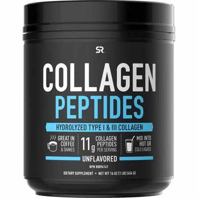 #7. Sports Research Non-GMO Verified Unflavored 16oz Jar Paleo Friendly Collagen Peptides Powder