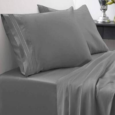 #5. Sweet Home Collection Soft Egyptian Quality Brushed Microfiber Hypoallergenic Sheets (Grey)
