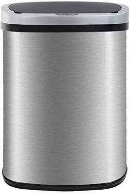 #6. BestOffice 13 Gallon Touch-Free Stainless Steel Kitchen Trash Can for Home Office w/Lid
