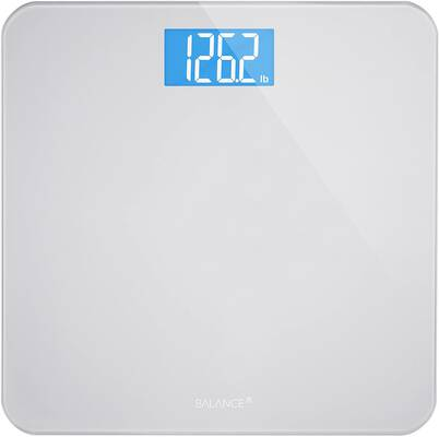 #5. Greater Goods Large Backlight Sturdy Tempered Glass Top Digital Bathroom Scale (Silver)