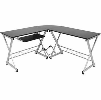 7. Best Choice Black Elegant Sturdy Modular L-Shaped Desk Workstation for Office & Home