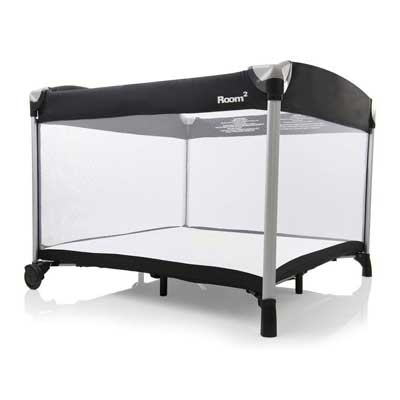 #2. Joovy New Room2 Squared Large Twins with wheels & Cotton Fitted Sheets Portable Playard (Black)