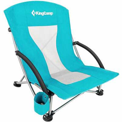 #4. KingCamp High Mesh Back Easy to Use Low Sling Beach Chair for Concert Law Camping