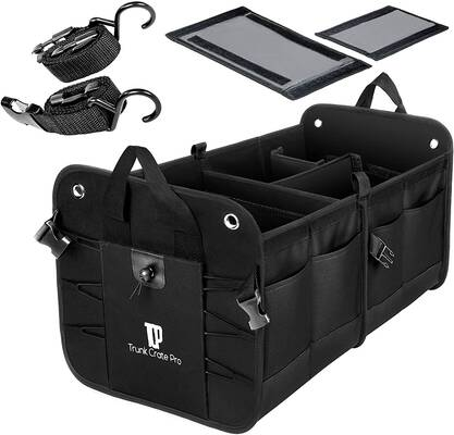 #2. TRUNKCRATEPRO Durable Portable Collapsible Multi-Compartments Car Trunk Organizer (Black)