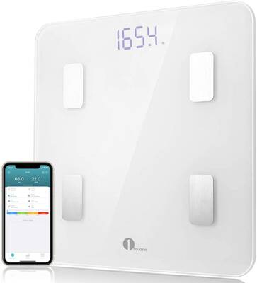 #3. 1byone 400lbs Step-on Tech & Unlimited Users Bluetooth Digital Weight & Body Fat Scale