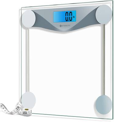 #7. Etekcity 8mm Tempered Glass 400lbs Digital Bathroom Scale with Body Tape Measure