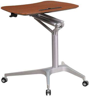 #3. Flash Furniture Sit Down Stand Up Adjustable Mahogany Computer Ergonomic Desk