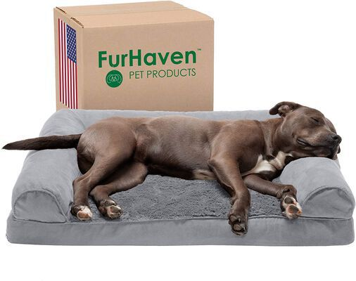 4. Furhaven L-Shaped Chaise Packable Travel Orthopedic Sofa Modern Dog Bed for Cats & Dogs