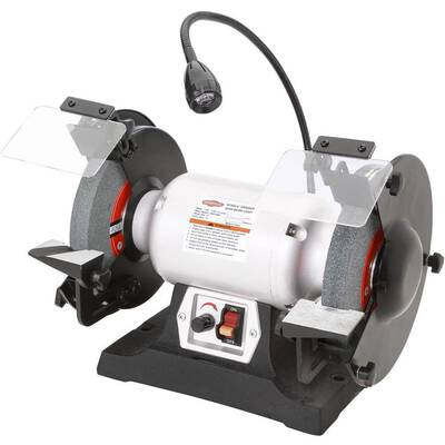 #4. Shop Fox W1840 Variable-Speed 8inch 3/4 HP 5/8inch Aluminum-Oxide Grinding Wheel Bore Bench Grinder