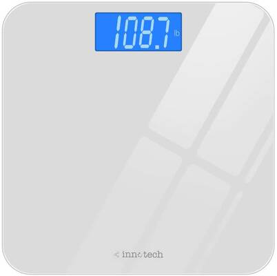 #8. Innotech Easy-To-Read Backlight LCD Durable & Compact Digital Bathroom Scale (White)