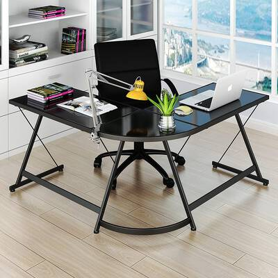 6. Le Cross SHW Black L-Shaped 3-Pcs Steel Frame Corner Desk Computer Gaming Desk Table