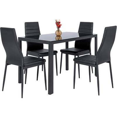#4. Best Choice 5-Pcs Kitchen 4 Leather Chairs Dinette Dining Table Set with Glass Top (Black)