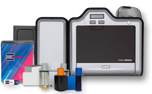 #1. Fargo HDP5000 with Supplies Bundle Dual Side Card Printer