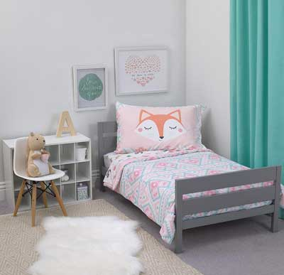 #5. Carter's 4 Pcs 52'' x 28'' Doubled-Sided Comforter Forest Fun Kids bed (White, Pink & Grey Aztec)