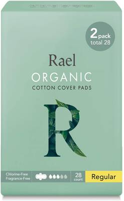 #6. Rael 28 Count Certified Organic Cotton Ultra-Thin Natural Sanitary Napkins w/Wings Menstrual Pads