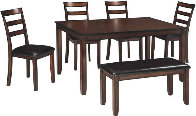 #1. Ashley Furniture Signature Design Set of 6 Coviar Dining Table Chairs & Bench (Brown)