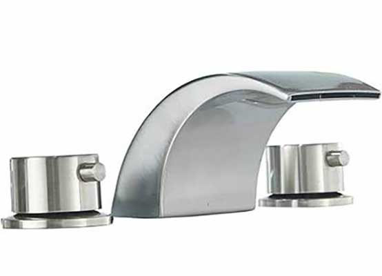 #4. Aquafaucet 8-16 Inches Bathroom Sink Faucet - 3 Holes Commercial