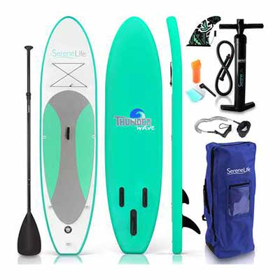 #4. SereneLife 6Inch Thick Wide Stance Non-Slip Deck Inflatable Stand-Up Surfing Paddle Board