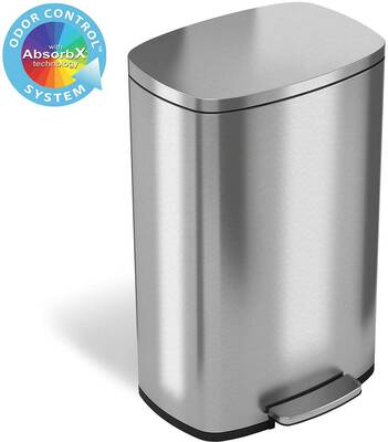 #3. iTouchless 13.2 Gallon Soft-Step Stainless Steel Step Trash Can w/Odor Control Unit for Home Office