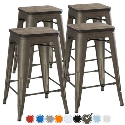#3. UrbanMod 24inch Set of 4 Rustic Gunmetal Wooden Set Bar Stools for Kitchen Counter Height