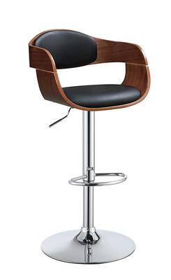 #9. Acme Camri Black Faux Leather Padded Seat with Adjustable Height and Swivel Arm Bar Stool