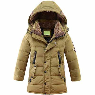 1. Mallimoda Anti-Static Windproof 100% Polyester Lightweight Hooded Boys' Winter Jacket