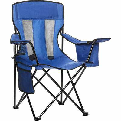 #10. AmazonBasics Heavy-Duty Steel Frame Integrated Cup Holder Portable Camping Chair