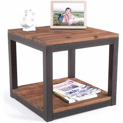 5. Care Royal Rustic Brown Real Natural Metal Frame Easy-Assembly Side End Table for Living Room