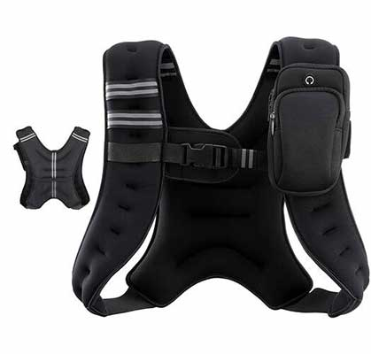8. Z ZELUS Dual Storage Pockets Neoprene Rubber Fabric Weighted Vest w/Reflective Stripe