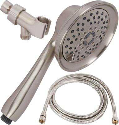 9. Aqua Elegante Shower Massage Removable Head & Mount - Brushed Nickel