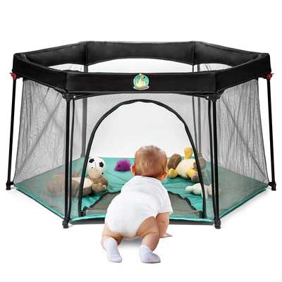 #4. BabySeater Lightweight & Portable Easy Open Playard for Babies & Infants (Torquoise)