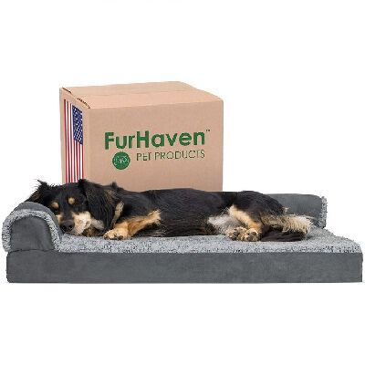 6. Furhaven Multiple Styles Self-Warming Ergonomic Contour L-Shaped Plush Cuddler Dog Bed