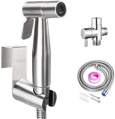 #7. FINIGE Portable Bathroom Handheld Stainless Steel Toilet Sprayer